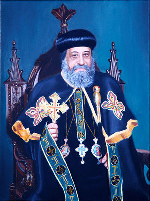"""H.H. Pope Tawadros II"" - 2016 - Oil on linen - 40 x 30 cm. - The Coptic Orthodox Cultural Center, Cairo (Egypt)"