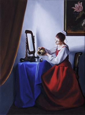 """""""Donna alla toletta (Temperanza)"""" - 2016 - Oil su lino - 40 x 30 cm. - Collezione CESMA, Roma  (Realtà aumentata con app Artivive)"""