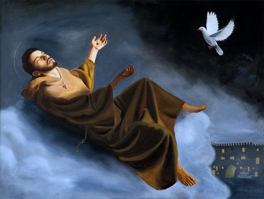 """San Francesco"" - oil on linen - 200 x 150 cm - Convento Santa Caterina, Fabriano (With augmented reality app Artivive)"