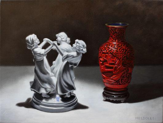 """""""Croce Rossa"""" - olio su lino - 40 x 30 cm - (Realtà aumentata con app Artivive)"""