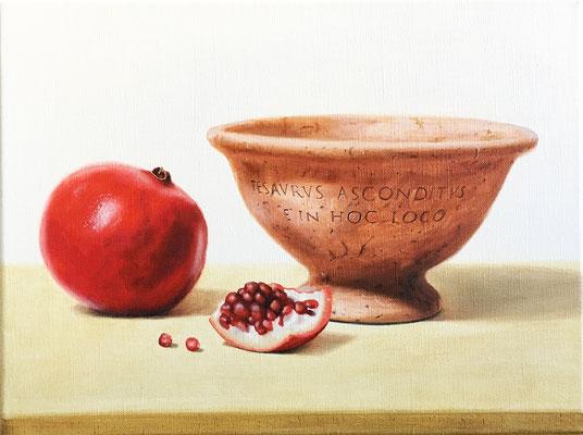 """""""Tesaurus"""" - 2017 - Olio su lino - 40 x 30 cm. - Comune di Bertrange (Lux)"""