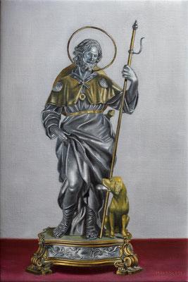 """""""San Rocco"""" - 2020 - olio su lino - 45 x 30 cm (Realtà aumentata con app Artivive)"""