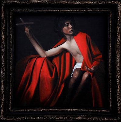 """San Giovanni Battista"" - 2014 - oil on cardboard - frame paper mache - 48 x 48 cm."