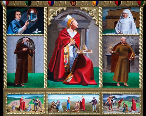 """""""Polittico di Sant'Emidio"""" - 2014 - olio su tavola, fregi in legno dorato – 95 x 80 cm. - In prestito al Museo Marcucci, Ascoli Piceno"""