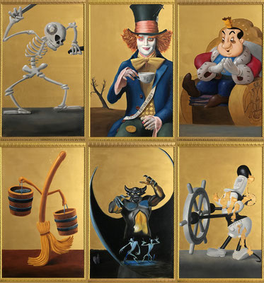 """Polyptych of worries"" - Oil on poplar board 40 x 64,7 cm each panel - (Total 120 x 129,4 cm.)"