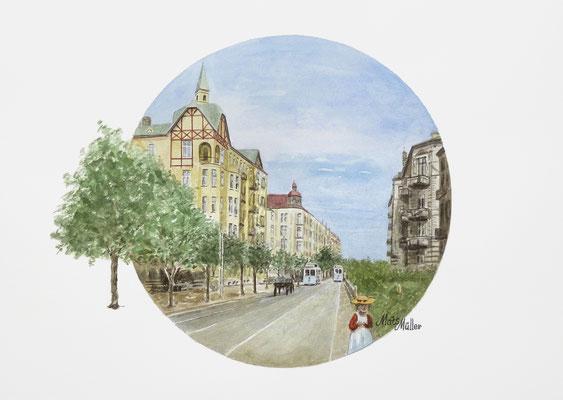 Mats Müller, Drottninggatan i Helsingborg, 40x30cm