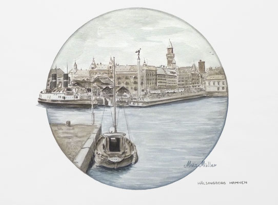 Mats Müller, Hälsingborgs hamn, 40x30cm
