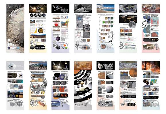 """panneaux de l'exposition itinérante """"Impact"""" autour du sujet des cratères d'impact et des météorites - Vigie-Ciel"""