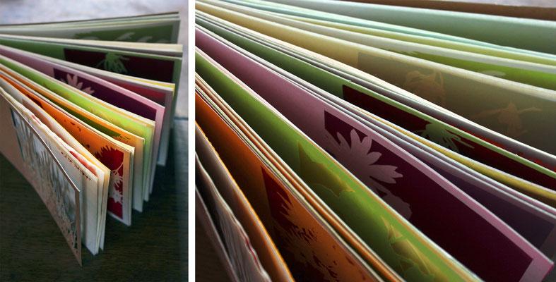 """""""un autre herbier"""" - livre unique de végétaux silhouettés, découpés - papier, papiers calques de couleurs"""