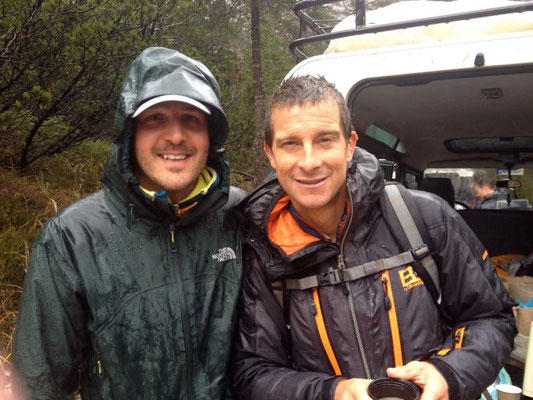 With Bear Grylls during a production in South Tirol. Thanks to Formasette creative lab.