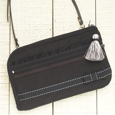 グログラン生地のお財布ショルダーバッグ(VERY風)ブラック【ノーマルタイプ】