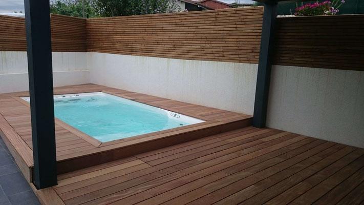 Mini piscine - 10m2 avec plages bois à Lafrançaise (82130)