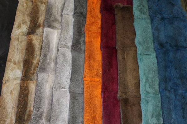 Bandine (pannelli o teli) di lapin leprato e cincilla naturale e tinto di diversi colori o epilato