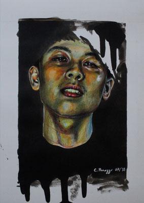 Experimentelles Portrait, 30x40cm, Farbstifte, Bleistifte, Tusche, Tinte, Gelstifte auf Zeichenkarton, 2018