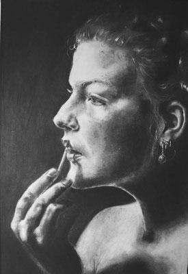 Selbstportrait, 30x40cm, Graphit, Kohle & Tusche auf Zeichenkarton, 2017
