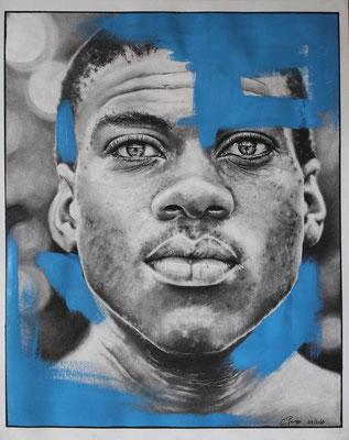 Portrait eines jungen Mannes, 50x64cm, Kohle, Bleistift, Acryl & Tusche auf Canson Zeichenpapier, 2016-'18