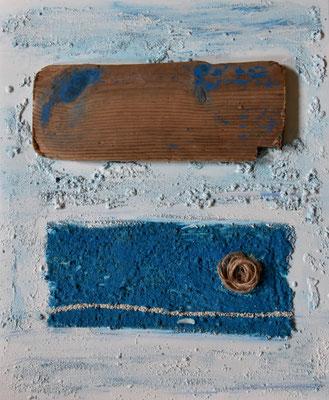 échoué sur un sable d'azur, 61 x 50 cm, 2016, vendu