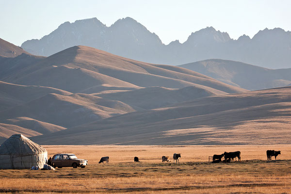 Jurten der Halbnomadan am Son Köl See Kirgisistan