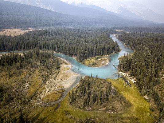 Icefields Parkway von oben British Columbia Kanada