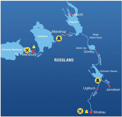 Route St. Petersburg - Moskau