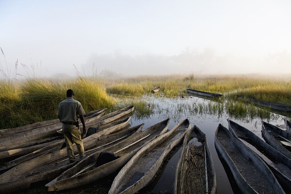 Mokoros beim Odball Camp im Okavango Delta/ Botswana