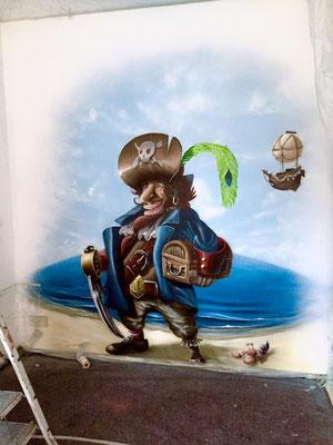 Graffiti Künstler im Kinderzimmer Piraten