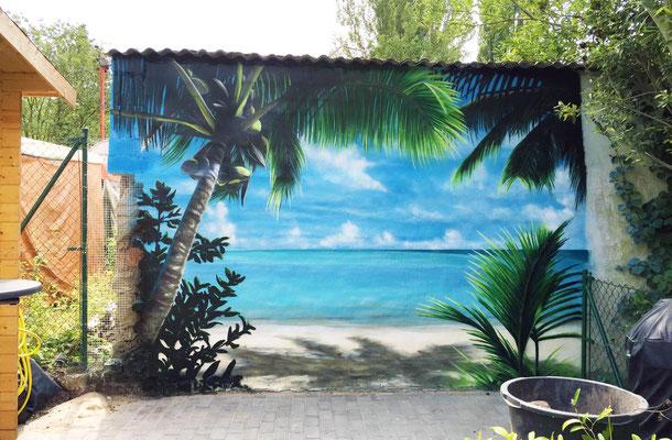 Garagen Rückwand Karibik Graffiti