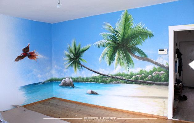 urlaub im Wohnzimmer wandmalerei