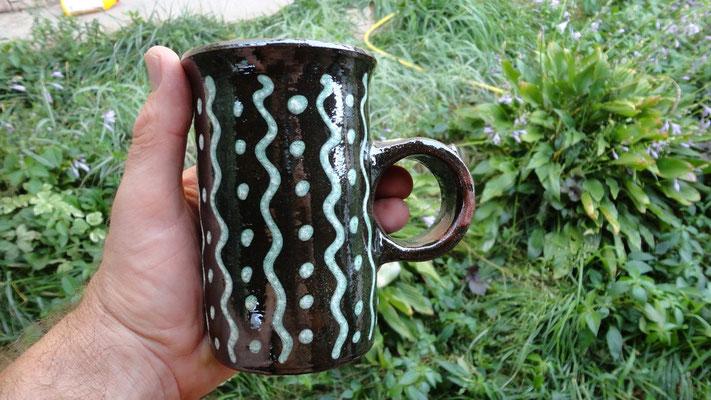 гончарная  глиняная кружка славянский орнамент