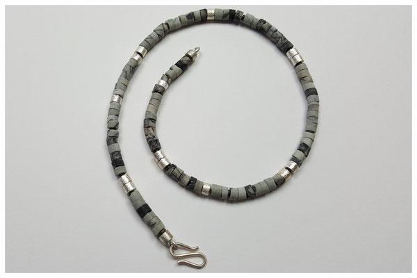 Marmorjaspiskette mit 925er Silber /145,-€