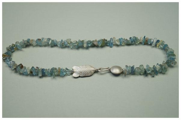 Aquamarinkette mit Fischverschluss aus 925er Silber / 369,-€
