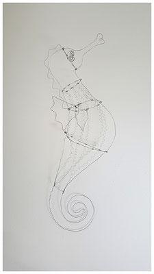 großes Seepferdchen aus Draht (Schattenspiel-Objekt)
