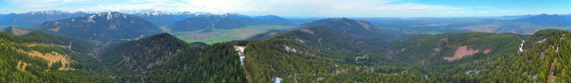 Panorama - Drohnenfoto - Landschaft - Bayern - Berge - Alpen - Sommer - Ausflug - Wanderung - Oberammergau 360 Grad
