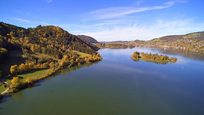 Drohnenfoto - Vogelperspektive - Drohne - Drohnenbild - Luftaufnahme - See - Schliersee
