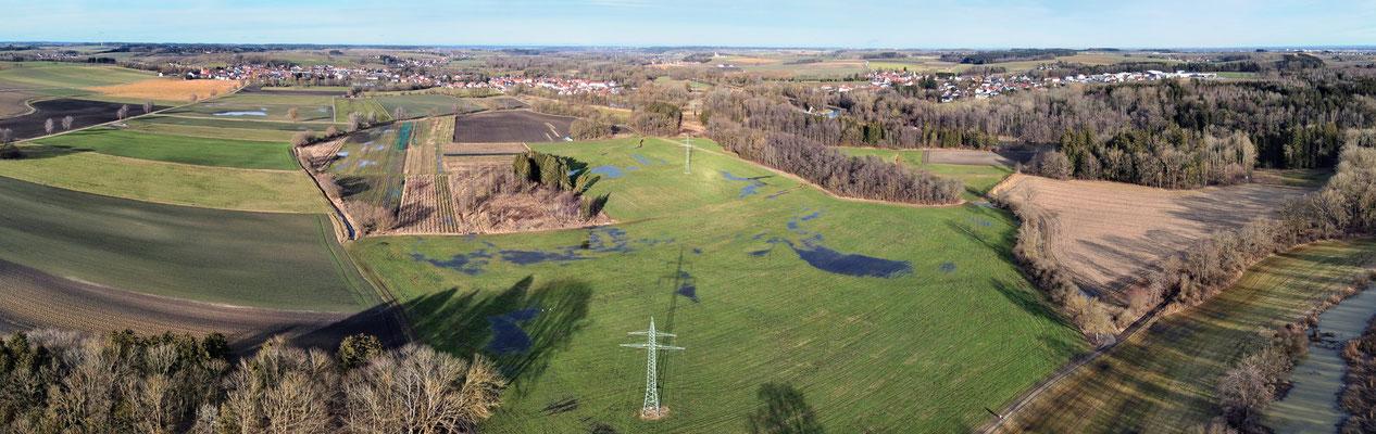 Panorama - Drohnenfoto - Luftaufnahme - Amper - Fahrenzhausen