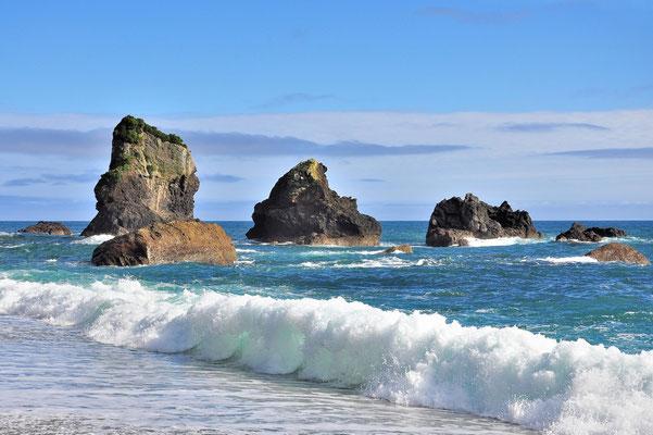 Neuseeland, Südinsel, See, Meer, Welle, Felsen, Monro Beach