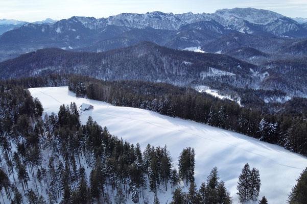 Vogelperspektive, Drohnenfoto, Drohnenbild, Luftaufnahme, Zwieselberg, Alpen, Winter, Schnee, Berge, Grat