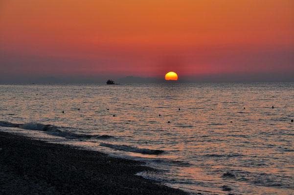 Griechenland, Rhodos, Meer, Schiff, Sonne, Küste, Strand, Sonnenuntergang