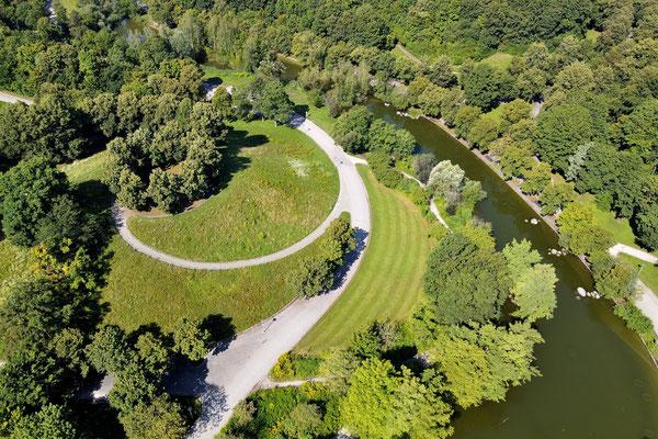 Vogelperspektive, Drohnenfoto, Drohnenbild, Luftaufnahme, Bayern, Sommer, Bäume, München, Westpark