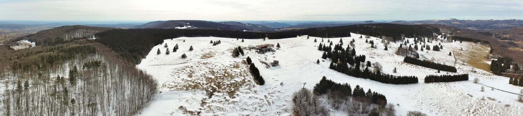 Panorama - Drohnenfoto - Landschaft - Winter - Schnee - Rhön