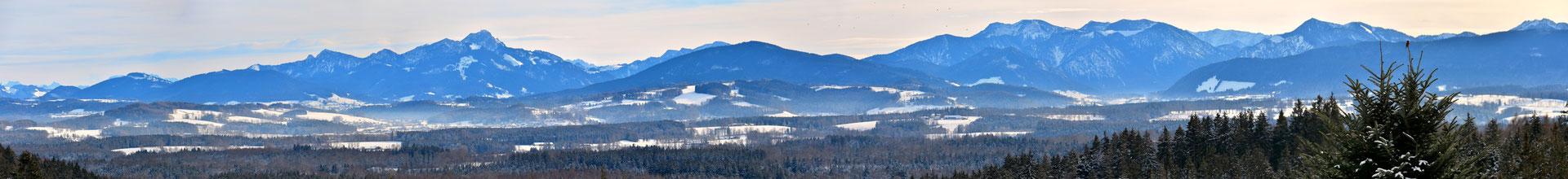 Panorama, Berge, Bergspitzen, Winter, Schnee, Rundumblick