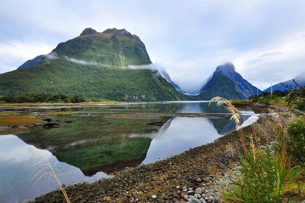 Neuseeland, Südinsel, Spiegelung, See, Berge,  Milford Sound