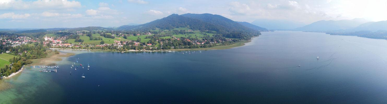 Panorama, Drohnenfoto, Tegernsee, Ufer, Bucht, Schiffe, Sommer