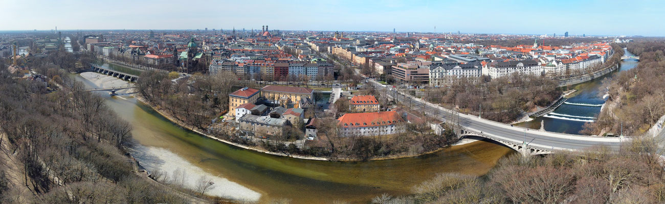 Panorama, Luftaufnahme, München, Innenstadt, 180 Grad