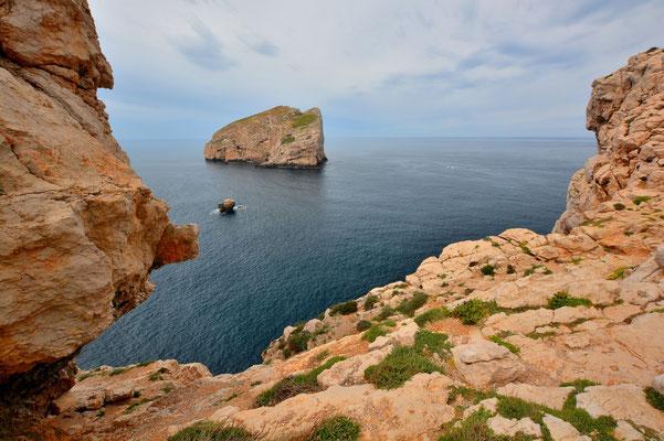 Sardinien, Sardegna, Landschaft, See, Küste, Bucht, Felsen, Rahmen, Alghero