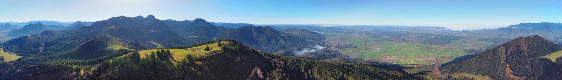 Panorama, Drohnenfoto, Luftaufnahme, Landschaft - Chiemgau - Farrenpoint Gipfel