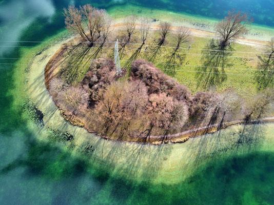 Drohnenfoto - Vogelperspektive - Drohne - Drohnenbild - Luftaufnahme - See - München - Unterföhring - Feringasee - Halbinsel