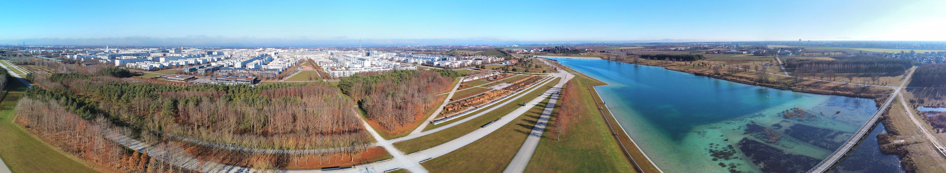 Panorama, Drohnenfoto, München Riem, BuGa-See, Riemer Park, Messestadt