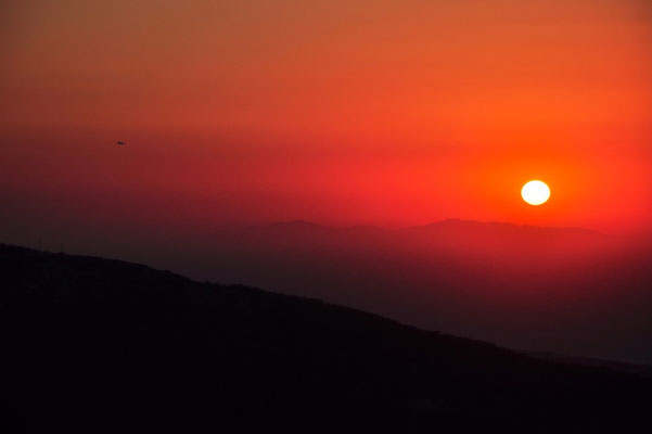 Griechenland, Rhodos, Sonnenuntergang, Berge, Nebel, Flugzeug, Silhouette