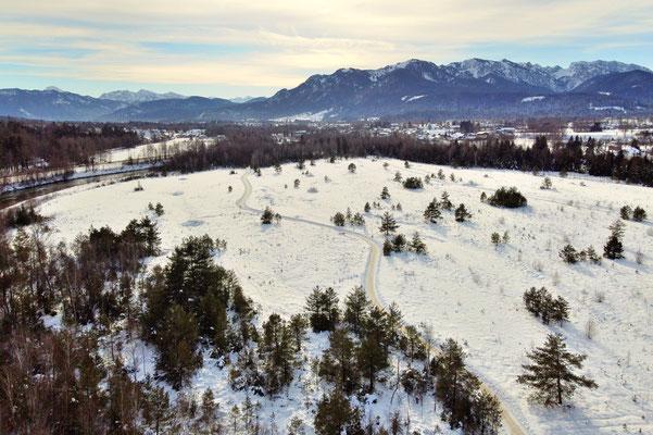 Vogelperspektive, Drohnenfoto, Drohnenbild, Luftaufnahme, Alpen, Winter, Schnee, Berge, Bad Tölz, Wanderung
